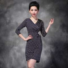 2013 autumn new | European and American fashion elegant dot print short-sleeved dress Q12802 | a generation of fat