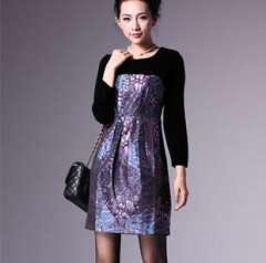 Fall and winter in Europe and America hot models | Women's velvet print dress | skirt wholesale | a generation of fat Q3036