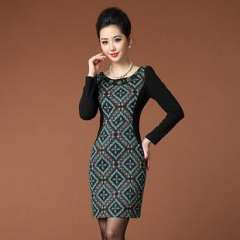 2013 European and American women's complex Guluomabu digital printing stitching long-sleeved dress was thin (Q13245)