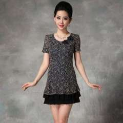 2013 summer new European and American fashion vintage high-end women's Slim short-sleeved lace dress (D15067)