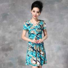 Europe summer new | ice silk stretch knit short-sleeved women's elegant camouflage print dress Q12241