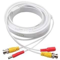 15M Power Video BNC Cable Plug and Play Cable for-CCTV Camera - White