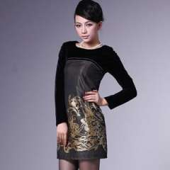 European and American big | Women's Velvet Dress | entities (wholesale) shop agent Q6601