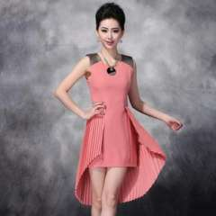 2013 spring and summer new Europe | dovetail pleated stitching Slim two wear sleeveless dresses Q13142