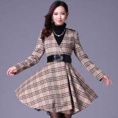 (Q12933) 2013 autumn and winter | European and American style large lattice | high-end winter wool coat | Wholesale