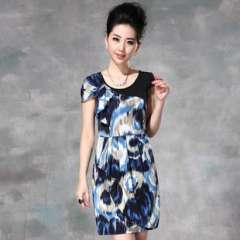 2013 Europe | spring and summer new stretch milk silk | camouflage print | waist dress (Q13148)