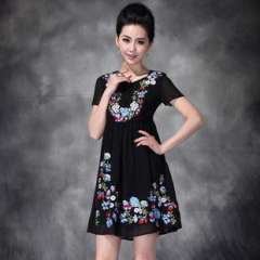 2013 summer new Europe-wide Heavy embroidered short-sleeved repair waist dress entity wholesale (Q15002)