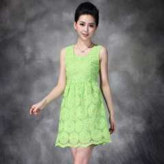 2013 summer new | European and American big heavy vest embroidered organza dress Q13087 | Free Agents