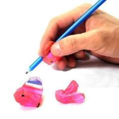 Cartoon version of a two-stage child trainer to hold a pen | color random