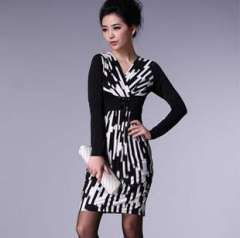 New autumn and winter in Europe and America | temperament Women | Slim false stripe print dress | wholesale entity 1354