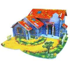 Large 3D model of three-dimensional jigsaw puzzle - a small farm house ( 516 )
