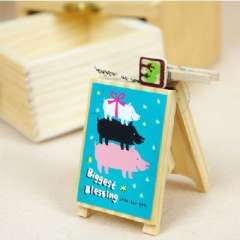 Korea kawaii wooden message folders / notes folder / card holder ( 144,654 ) random color
