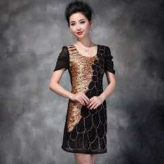 Hot explosion models | New spring and summer in Europe and America | Heavy beads | Leopard Peacock edge silk dress 1113