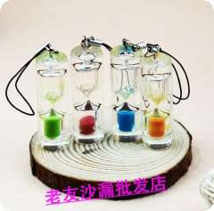 Keychain crystal hourglass gift transparent crystal mobile phone rope hourglass necklace hourglass