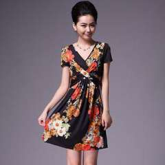 Europe closed body version | 2012 summer new ice silk print dress | Bestsellers Hot Q12138