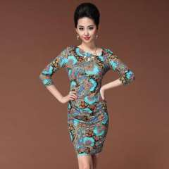 2013 autumn new | European and American fashion ice silk digital printing | oblique V-neck design | long-sleeved dress Q13223