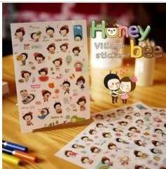 Min order $10 Free shipping Honey bee girl transparent stickers set 6