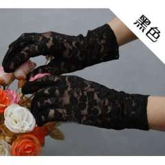 Sunscreen breathable lace short gloves black