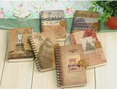 Min order $10 Free shipping Korea stationery vintage classical leather hasp the coil notebook diary