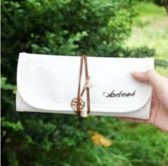 Korea stationery patent leather gold key pencil case 12091