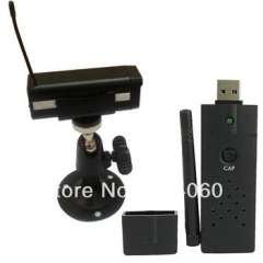 Wireless camera | Wholesale 2.4G 4ch Wireless Camera Receiver USB DVR Video Audio for PC LAPTOP CCTV CAM + 1pcs 2.4GHz Wireless Camera 1030D HD CMOS 380TVL