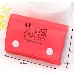 Korea stationery card holder clip cartoon rabbit faux leather card case bus cars card holder