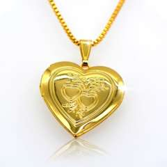 18 k gold classic heart-shaped box pendants can pack perfume cotton and photos p30039