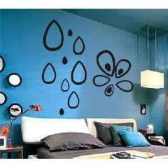 Polka teardrop-shaped three-dimensional relief wall stickers / DIY TV backdrop decoration - black
