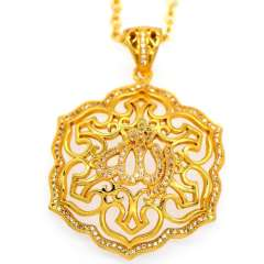 High quality Vintage Allah pendants Women\Men zircon jewelry Gift 18K Gold Plated Fashion african Jewelry Necklace p30100