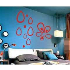 Polka teardrop-shaped three-dimensional relief wall stickers / DIY TV backdrop decoration - red