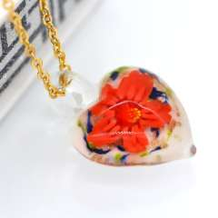 Hot sale high quality European fashion jewelry, glass pendant necklace 18k gold plated charm's birthday gift to women p30096