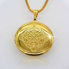 Trendy Romantic Circular box Pendant 18K Real Gold Plated Fashion vintage Jewelry Women Gift Necklaces Pendants p30048