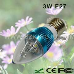 Low Power, E27 Base 3W led candle bulb
