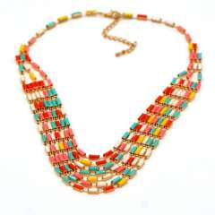 Colorful stone combination necklace for women fashion Jewelry High Quality 18K Real Gold Plated Necklace Wholesale n50059
