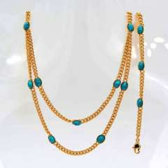 New Trendy 18K Real Gold Plated Natural turquoise Chunky Link Chain Necklaces & bangle Jewelry Gift For Women\ Men NB60056