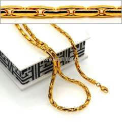 New Trendy Men Jewelry Wholesale 18K Real Gold Plated 4.8MM Snake Chain Necklace Bracelet African Jewelry NB60035