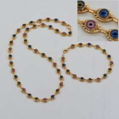 Unique design Colorful eyes Necklace Bracelets Set Women men jewelry Gift Trendy 18K Real Gold Plated Jewelry Sets NB60060