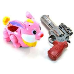 Naughty little friends electric infrared laser pistols firing toy-rabbit (2205)