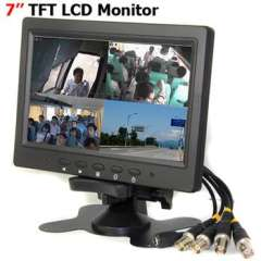 New 7 inch TFT LCD Color 4CH-Video Input Camera Quad View Monitor