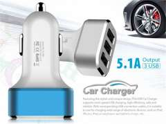 New 3 USB Ports 26W 5.1A Car Charger USB Power Adapter For iPhone 6 iPad Samsung iPod All Mobile Phones Retail box