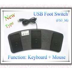 USB Foot Triple Keyboard Mouse Action Switch Pedal HID FS3_M (Me
