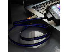 SAVES Luminous Charging USB Cable for iPhone, iPod, iPad (Black)