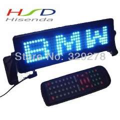 DHL Free shipping 2pcs\lot LED Car Sign message display Remote control indoor support English, Russian, Spain Blue 254 *76.2*20mm
