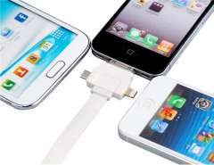 3-in-1 1 m Data Charging Flat Cable for iPhone 5, iPad mini, iPad 4, iPod Touch 5, iPod Nano 7 (White)