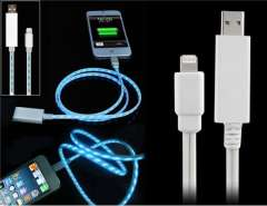 Data Transmission & Charging Cable with LED Light for iPhone 5, iPod Touch 5, iPad 4, iPod Nano 7 (White)