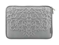 Wardmaster Full Protection Zippered Carved Pattern iPad 2 Bag with Sponge Layer (Silver)