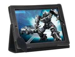 SF Litchi chinensis Veins Protective Case Stand for iPad2 (Black)