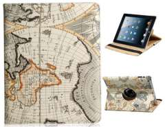 360 Degree Rotating Map Design Faux Leather Case for The new iPad