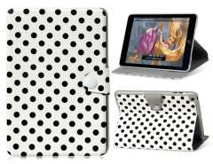 Polka Dot PU & PC Flip Case with Stand for iPad Mini (White)