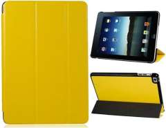 Faux Leather Folding Protective Case for iPad Mini (Yellow)